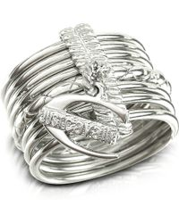Just Cavalli | Infinity - Logo Charm Silver Plated Stacked Ring | Lyst