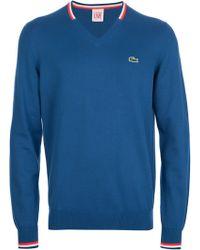 Lacoste L!ive - Vneck Logo Sweater - Lyst