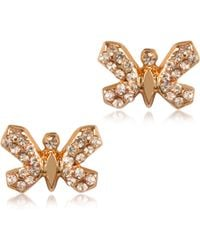 Patrizia Pepe - Precious Fly Brass with Crystals Earrings - Lyst