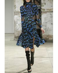 Proenza Schouler Printed Silk Chiffon Dress - Lyst