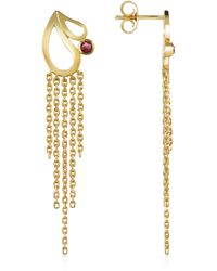 Sho London - Mari Splash Fringe Earrings W/ Rhodolite - Lyst