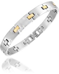 Zoppini - Zo-chain Brushed Stainless Steel and 18k Gold Link Bracelet - Lyst