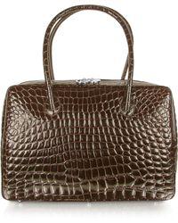 Giorgio Fedon - Spiga - Dark Brown Croco Stamped Calfskin Business Bag - Lyst