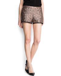 Mango Chiffon Hems Sequined Shorts - Lyst