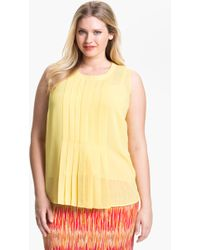 Vince Camuto Pleat Front Sleeveless Blouse  - Lyst