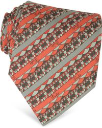 Emilio Pucci - Diagonal Orange And Grey Stripe Twill Silk Tie - Lyst