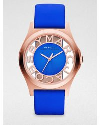 Marc By Marc Jacobs Henry Skeleton Rose Goldfinished Stainless Steel Strap Watch Blue Strap - Lyst