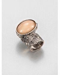 Saint Laurent Arty Ovale Ring/Silvertone - Lyst