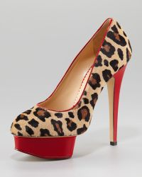 Charlotte Olympia Polly Leopardprint Calf Hair Platform Pump - Lyst