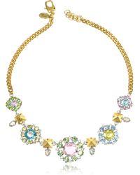 Juicy Couture - Rhinestone Flower Bib Necklace - Lyst