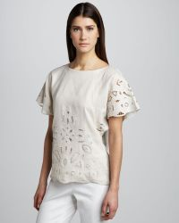Studio 148 By Lafayette 148 New York - Liviana Raffia Linen Cutout Top - Lyst
