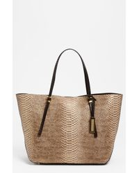 Michael Kors Gia Python Embossed Leather Tote Large - Lyst