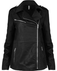 Topshop Tall Oversized Biker Jacket - Lyst