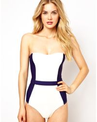Asos Contrast Panel Belted Bandeau Swimsuit - Lyst