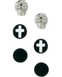 River Island - Skull and Cross Earrings in 4 Pack - Lyst