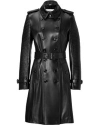 Burberry Lambskin Torquay Trench in Black - Lyst