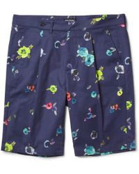 Raf Simons Flower-Print Cotton-Twill Shorts blue - Lyst