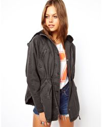Asos Washed Parka with Borg Lining - Lyst