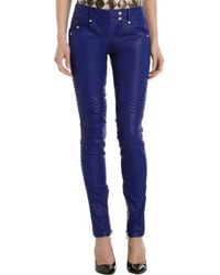 Balmain Leather Moto Pants - Lyst