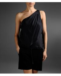 Emporio Armani One-shoulder Top in Silk with Drawstring Hem - Lyst
