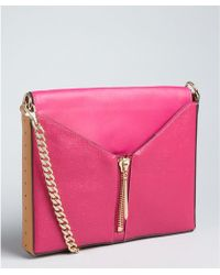 Pour La Victoire Fuchsia and Camel Textured Leather Zip Detail Provence Shoulder Bag - Lyst