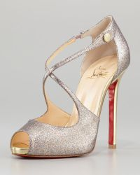 Christian Louboutin Wrap Glitter Peeptoe Red Sole Pump - Lyst
