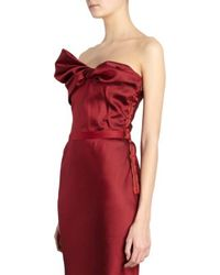 Lanvin Twist Bow Front Strapless Gown red - Lyst