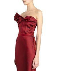 Lanvin Twist Bow Front Strapless Gown - Lyst