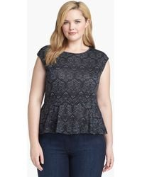 Olivia Moon Print Peplum Top Plus - Lyst