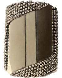 Anndra Neen - Two Tone Brass Cuff with Ball Details - Lyst