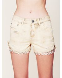 Free People Embroidered Hanky Cut Off Shorts - Lyst