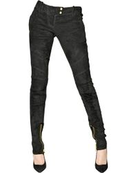 Balmain Quilted Stretch Suede Biker Jeans - Lyst