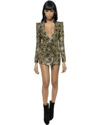 Balmain Lurex and Silk Twill Jacquard Dress - Lyst