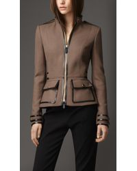 Burberry Leather Detail Military Jacket - Lyst