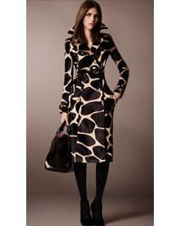 Burberry Animal Print Calf-skin Trench Coat - Lyst