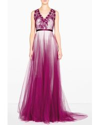 Catherine Deane Magenta Prarie Embroidered Gown - Lyst
