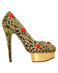 Charlotte Olympia 150mm Dolly Rose Velvet Pumps - Lyst