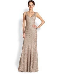David Meister Metalliclace Gown - Lyst