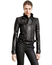 Diesel Black Gold Studded Nappa Leather Biker Jacket - Lyst