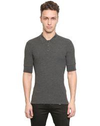 Dolce & Gabbana Ribbed Knit Polo Shirt - Lyst