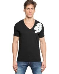 DSquared² Flower Printed Cotton Jersey T-Shirt - Lyst