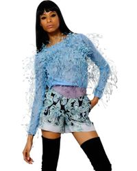 Emilio Pucci - Ostrich Feathers On Tulle Top - Lyst