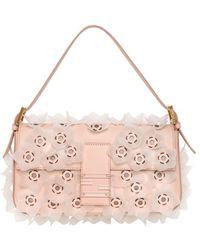 Fendi Flower Leather Baguette Bag - Lyst