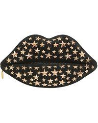 Lulu Guinness - Studded Suede Snakeskin Lip Clutch - Lyst
