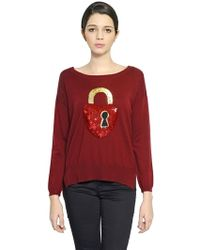 Markus Lupfer Key To My Heart Sequined Wool Sweater - Lyst