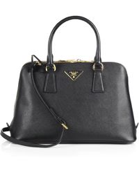Prada Saffiano Medium Double Zip Top-Handle Bag - Lyst