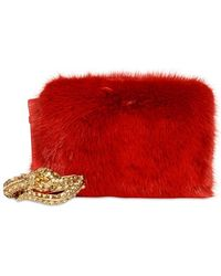 Roberto Cavalli Swarovski Snake Mink and Leather Clutch - Lyst