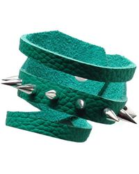 Ruby Feathers Green Spikes Leather Cuff - Lyst