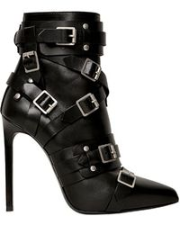Saint Laurent 120mm Paris Belted Pointed Boots - Lyst