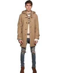 Saint Laurent Wool Felt Hooded Duffle Coat - Lyst